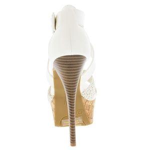 Anne Michelle Shoes - Koko White Open Toe Cork Platform Heels